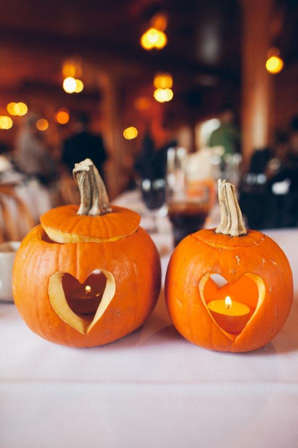 Pumpkin Candle Holder Decoration Fall Pumpkin Themed Wedding Idea