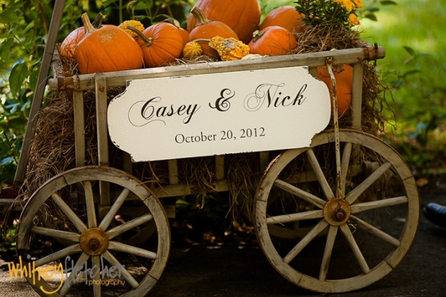 Pumpkin Carriage Rustic Fall Wedding Decoration Idea