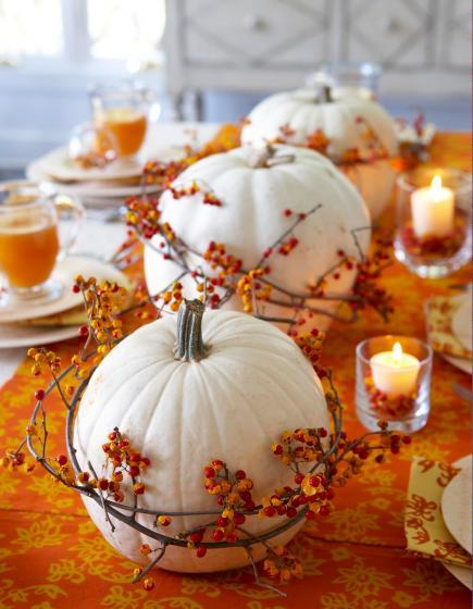 Pumpkin Centerpiece Decoration Fall Wedding Idea