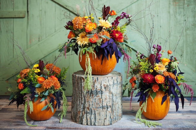 Pumpkin Decoration Set Up Fall Pumpkin Themed Wedding Idea