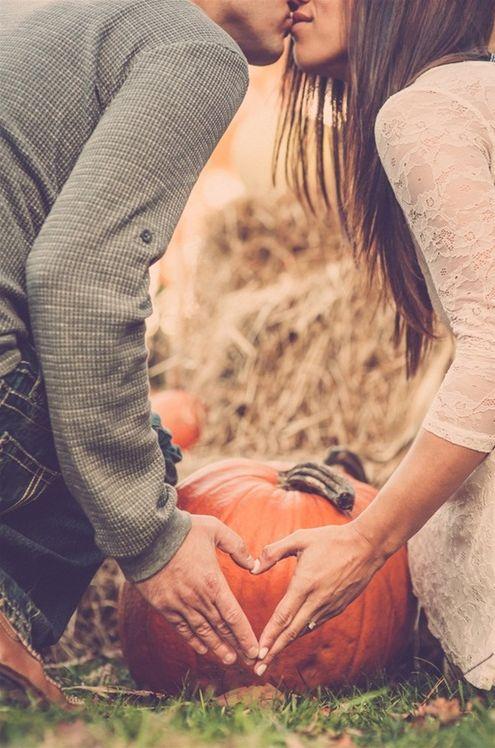 Pumpkin-Inspired Engagement Photo Fall Pumpkin Themed Wedding Idea