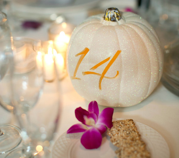 Pumpkin Table Numbers Decoration Fall Pumpkin Themed Wedding Idea