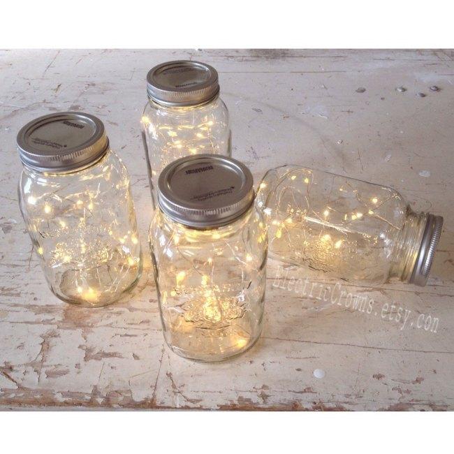 Rustic Mason Jar Light Set Fall Wedding Idea