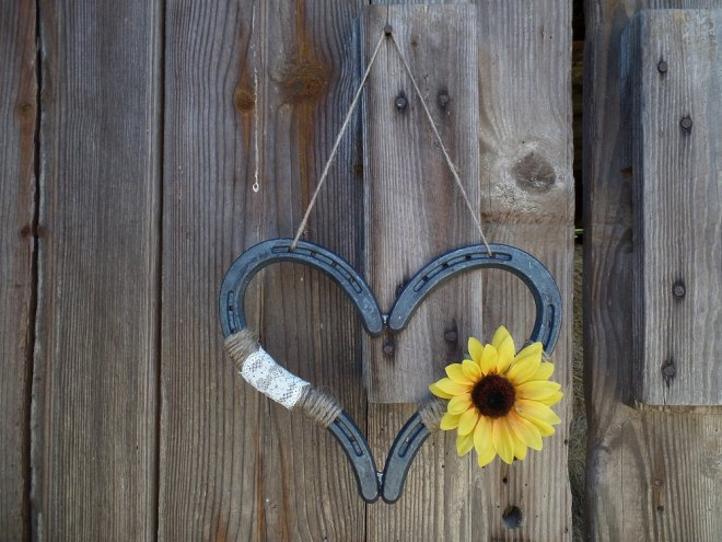Rustic Sunflower Wedding Horseshoe Heart Detail Decoration - By
