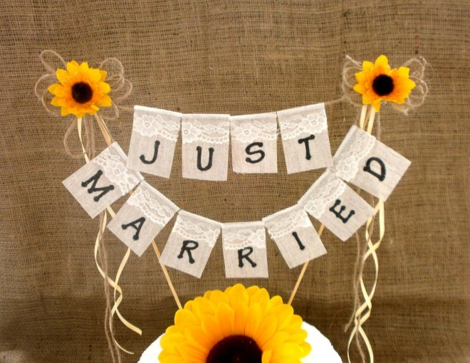 Rustic Wedding Cake Topper With Sunflower Just Married Banner