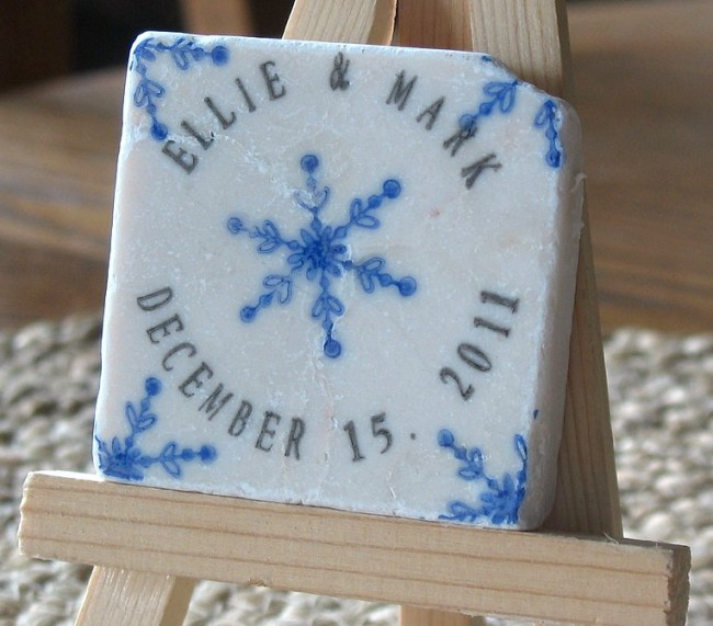 Save The Date Handmade Tile Magnet Winter Wedding Favors