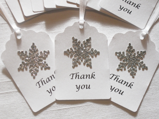Snowflake Thank You Tags Winter Wedding Favors