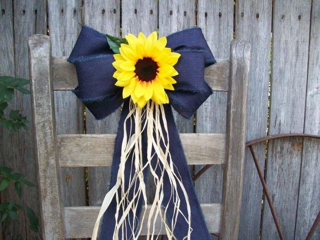 Sunflower and Denim Pew Bow Decoration Idea