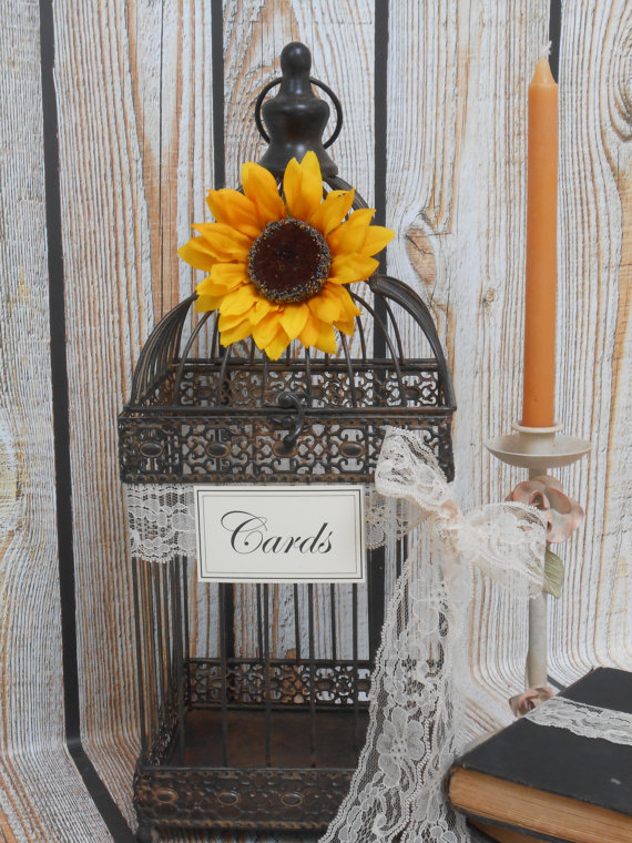 Sunflower Birdcage Holder Wedding Idea