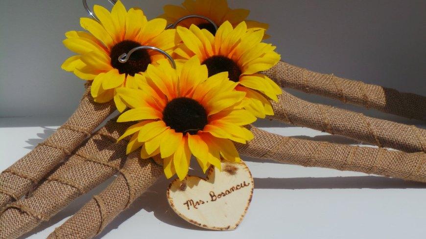 50 sunflower inspired wedding ideas that wedding blog sunflower bridal party hangers wedding ideas junglespirit Images