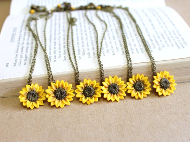 Sunflower Bridesmaid Necklaces Wedding Ideas