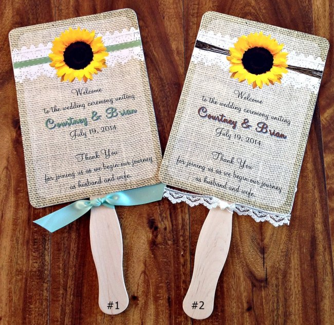 Sunflower Burlap and Lace Wedding Program and Fan