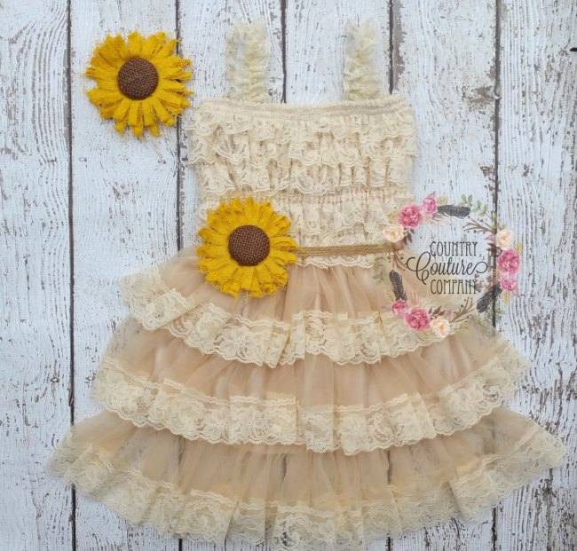 Sunflower Flower Girl Dress Wedding Ideas