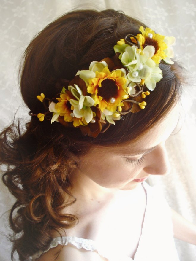 Sunflower Head Piece Wedding Ideas