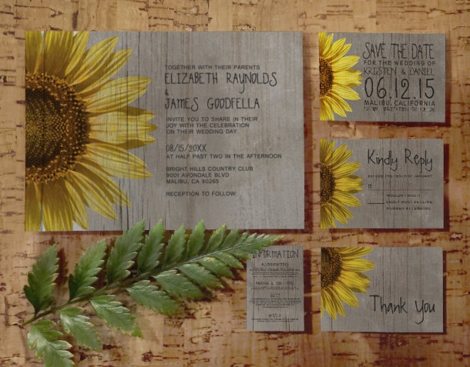 Sunflower-Inspired Wedding Invitation