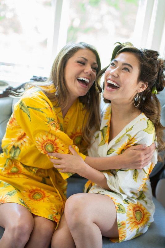 Sunflower Robe Kimono Style Bridal Party Fun Wedding Ideas