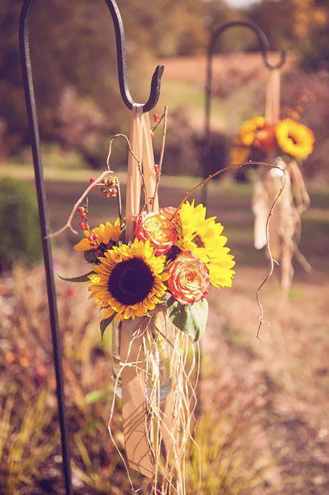 Sunflower Raffia Rustic Fall Wedding Decoration Idea