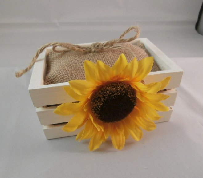Sunflower Ring Bearer Box and Pillow Wedding Ideas