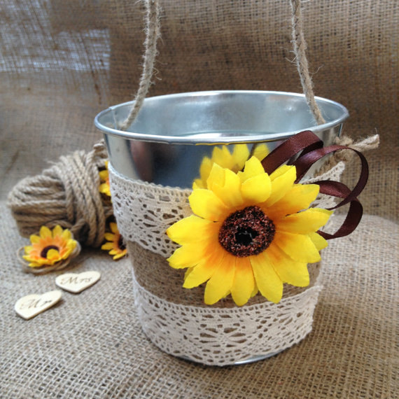 Sunflower Rustic Wedding Pail Bucket