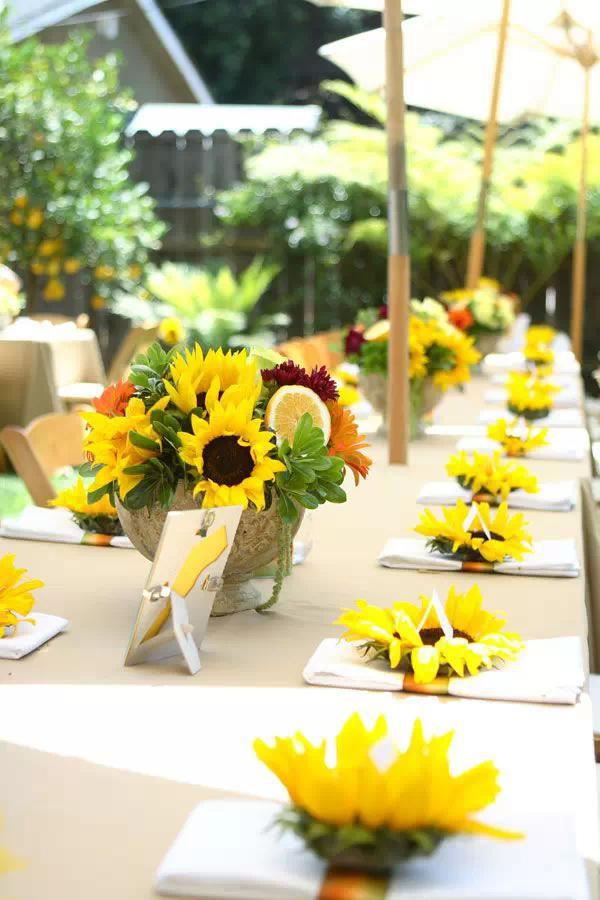 Sunflower Table Set Up Wedding Idea