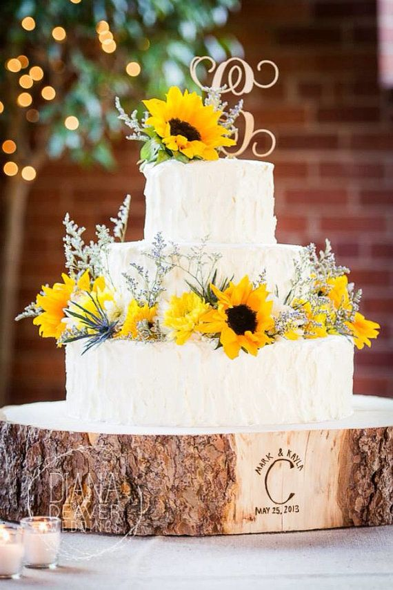 Sunflower Wedding Cake With Tree Stump Base