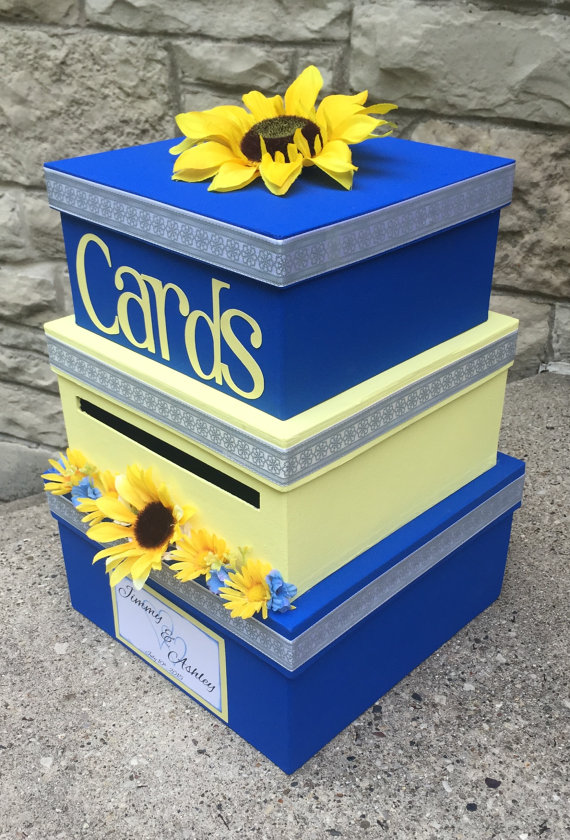 Sunflower Yellow and Blue Card Holder Wedding Idea