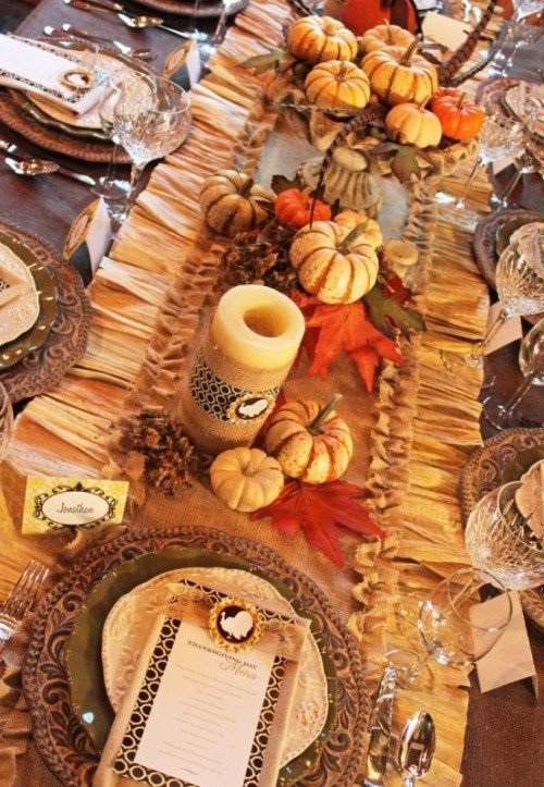 Table Pumpkin Decoration Fall Wedding Idea-2