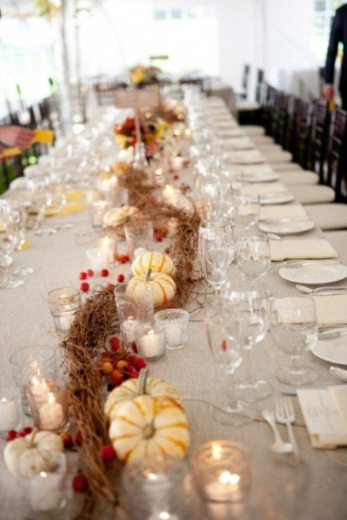 Table Pumpkin Decoration Fall Wedding Idea
