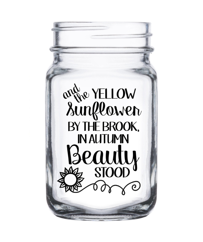 The Sunflower By The Brook Mason Jar No Handle Glass Mason Jars