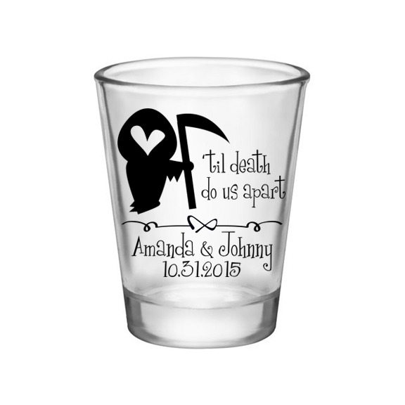 'Til Death Do Us Apart Clear Shot Glasses Halloween Wedding Favors