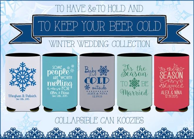 Winter Wedding Koozies Designs