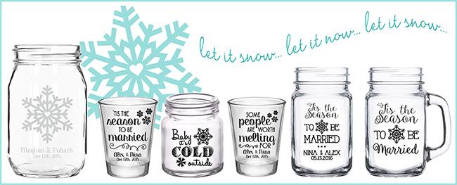 Winter Wedding Shot Glasses Mason Jars Designs